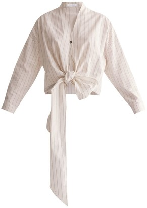 Paisie Striped Wrap Blouse With Tie Waist In White & Brown