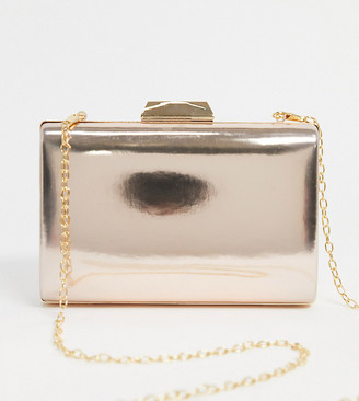 True Decadence Exclusive mirrored clutch bag with detachable strap in gold