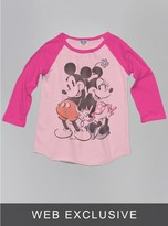 Junk Food Clothing Kids Girls Mickey And Minnie Mouse Raglan-pa/fl-xs
