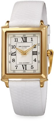 Bruno Magli Goldtone Stainless Steel & Leather-Strap Watch