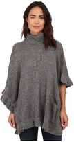 Steve Madden Ribbed Turtleneck Poncho w/ Ruffle Border