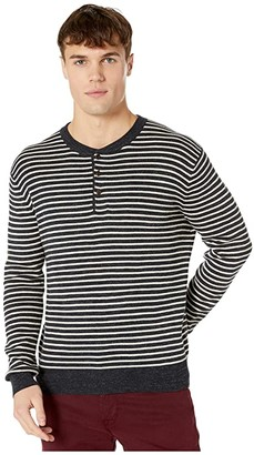 J.Crew Rugged Cotton Shoulder Panel Stripe Henley (Stripe Marled Obsidian) Men's Clothing