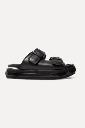 Alexander McQueen Buckled Patent-leather Trimmed Leather Platform Sandals - Black