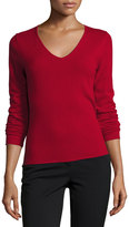 Neiman Marcus Cashmere V-Neck Long-Sleeve Pullover Sweater, Red