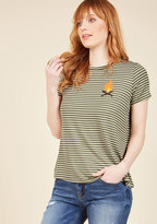 Dapper Day Off Striped Top in Campfire in XS