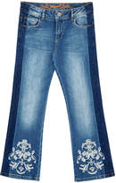 Desigual Women's Denim Pants and Jeans 5053 - Blue Faded Floral Side-Stripe Straight-Leg Jeans - Women