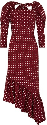 pushBUTTON Burgundy Polka-dot Satin Midi Dress