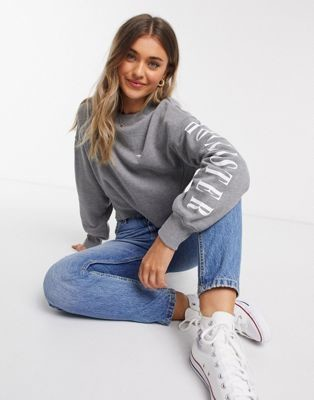 Hollister crew neck sweater in gray