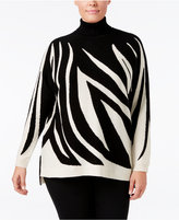 Charter Club Plus Size Cashmere Zebra-Print Sweater, Only at Macy's