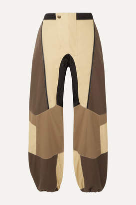 BEIGE Tre By Natalie Ratabesi TRE by Natalie Ratabesi - The Hera Paneled Cotton-blend Twill Track Pants