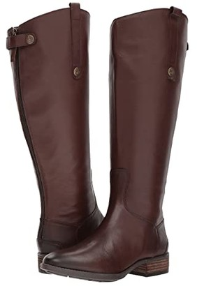 Sam Edelman Penny 2 Wide Calf Leather Riding Boot (Dark Brown Basto Crust Leather) Women's Shoes