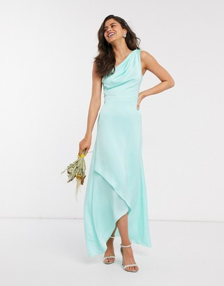 TFNC Bridesmaid one shoulder maxi dress in mint