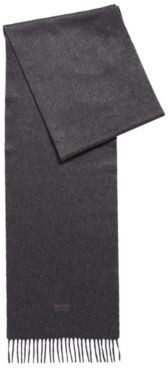 HUGO BOSS Scarf With Fringed Trim In Italian Cashmere - Dark Blue