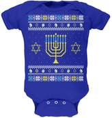 Old Glory Menorah Ugly Hanukkah Sweater Royal Soft Baby One Piece - 12- months