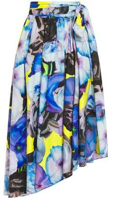 MSGM Asymmetric Gathered Printed Cotton-poplin Midi Skirt