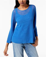 Eileen Fisher Organic Linen Blend 3/4-Sleeve Top, Regular & Petite