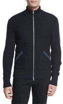 Tom Ford Suede-Trim Zip-Front Merino Wool Cardigan, Navy