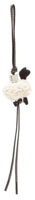 Loewe Sheep Leather And Shearling Keyring - White Black