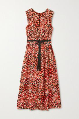 Cefinn Rosie Belted Printed Crepe Midi Dress - Orange
