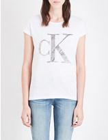 Calvin Klein Velvet-logo cotton-jersey t-shirt
