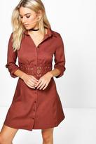 Boohoo Savannah Lace Crochet Waist Shirt Dress