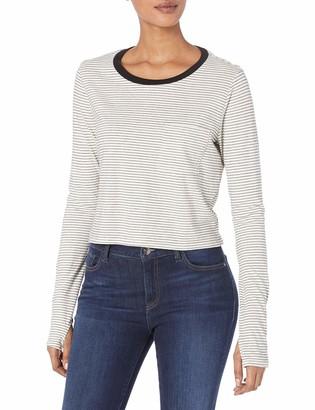 LAmade Women's Stripe Long Sleeve Pocket Crop tee