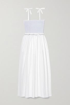 Loretta Caponi Luisa Embroidered Shirred Cotton-poplin Midi Dress - White