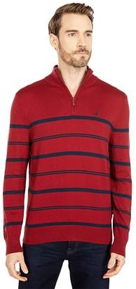 Nautica Navtech Stripe 1/4 Zip Sweater (Marshmallow) Men's Sweater