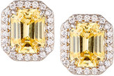 FANTASIA Emerald-Cut Pave Stud Earrings, Yellow