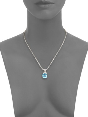 Effy Blue Topaz, Sterling Silver & 18K Yellow Gold Square Pendant Necklace