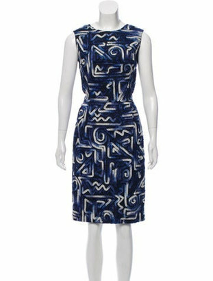 Oscar de la Renta Sleeveless Patterned Dress multicolor