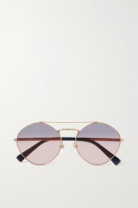 Valentino Garavani Rockstud Aviator-style Gold-tone And Acetate Sunglasses - Pink