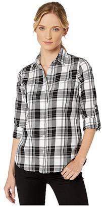 Lauren Ralph Lauren Classic Cotton Shirt (Polo Black/White) Women's Clothing