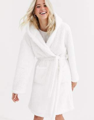 Loungeable borg dressing gown with hood-White