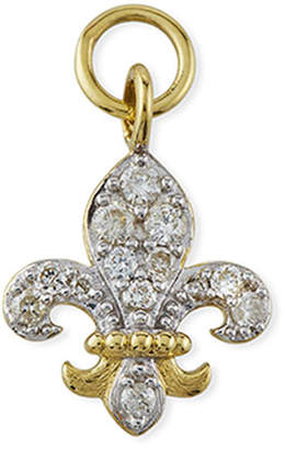 Jude Frances 18K Petite Pave Diamond Fleur-De-Lis Earring Charm, Single
