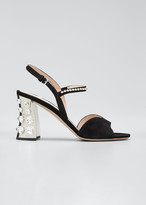 Miu Miu 85mm Suede Mirrored-Heel Sandals