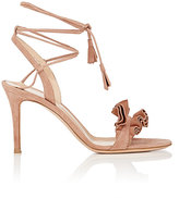 Gianvito Rossi Women's Flora Suede Ankle-Tie Sandals-PINK
