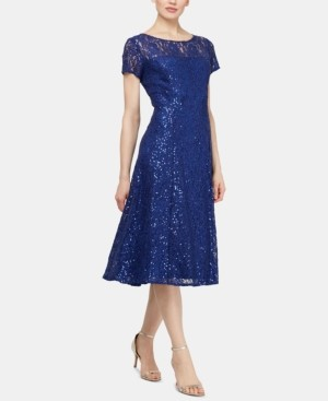 SL Fashions Petite Sequinned-Lace Midi Dress