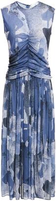 Victoria Victoria Beckham Ruched Printed Slub Jersey Midi Dress