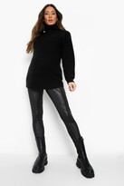 boohoo Maternity Ivy Leather Look Over The Bump Legging