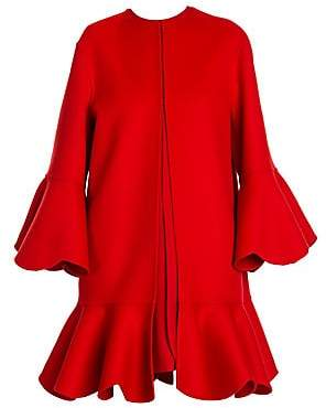 Valentino Women's Pano Double Flounce Coat