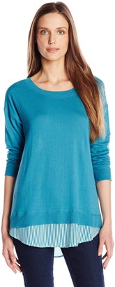 Joan Vass Women's Sweater with Silk Insert