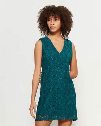 Apricot Teal Lace Sleeveless Mini Dress