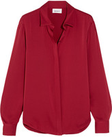 DKNY Stretch-silk Crepe De Chine Blouse - Red