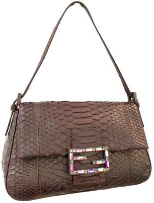 Fendi Baguette Burgundy Python Handbags