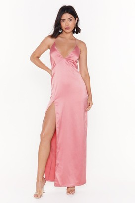 Nasty Gal Womens Look at You Satin Dress - Blush