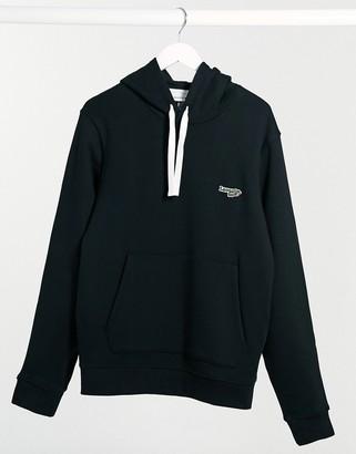 Lacoste hoodie with script croc logo in black
