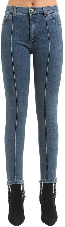 Magda Butrym Cotton Denim Jeans W/ Stirrups & Pintuck