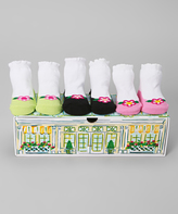 Dimples Green & Pink Flower Shoe Three-Pair Socks Set
