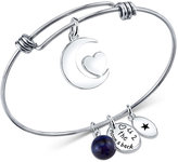 Unwritten Love You to the Moon and Back Charm and Sodalite (8mm) Bangle Bracelet in Stainless Steel